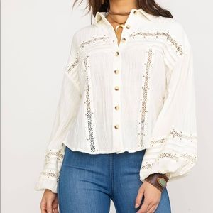 Free People NWT Summer Stars Button Front Shirt